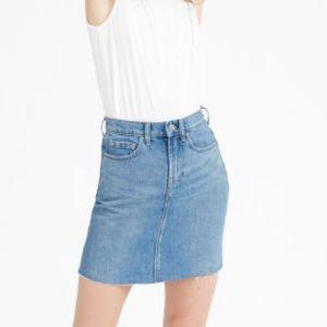 Everlane Cut Off Blue Denim Skirt Sz 28 medium